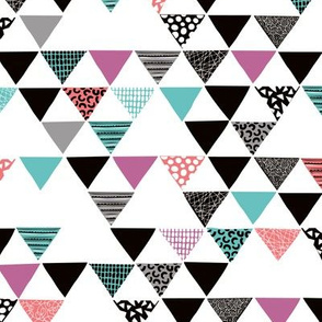 Geometric tribal aztec arrows triangle colorful blue and magenta
