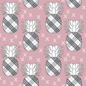 plaid pineapples on mauve