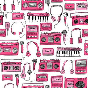 80s music // keyboards headphones cassettes cassette tape player fabric 80s fabric
