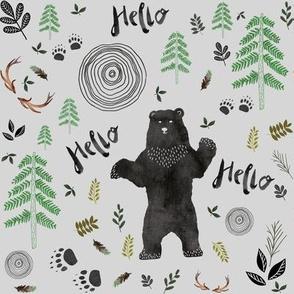Hello Woodland Watercolor Bear - Gray