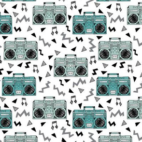 80s boombox //  80s fabric mint and grey fabric music kids girls retro throwback music cassettes fabric