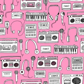 80s music // boombox cassettes cassette headphones keyboard music microphone fabric