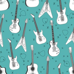 guitars // electric guitars music fabric rock band guitar music fabric