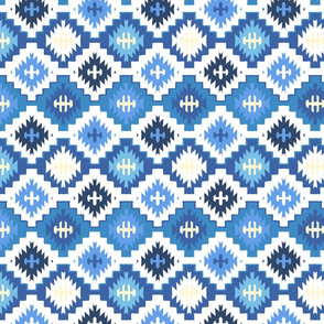 Blue tiles with ethnic motifs