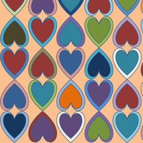 April Double Hearts on Orange
