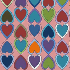 April Double Hearts on Pink