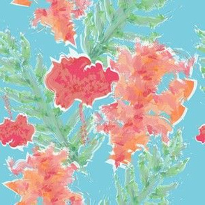 Tropical Hibiscus Watercolor in Aqua Sea