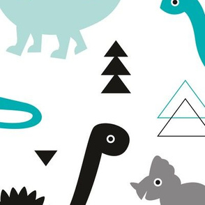 Adorable dino boys fabric with black and blue dinosaur geometric triangles and funky animal illustration theme for kids LARGE