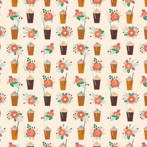 pumpkins floral autumn smaller version cute girls latte coffee drinks autumn flowers cute girls coffee design mini version