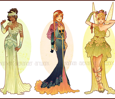 Tiana Cosplay inspired by Hannah Alexander's Art Nouveau Design Ombre