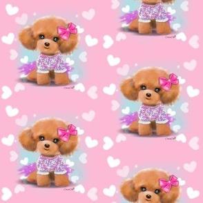 Miniature Poodle Toodles Pink M