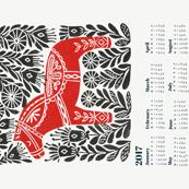 2017 linocut calendar // dala horse calendar, folk calendar, andrea lauren fabric