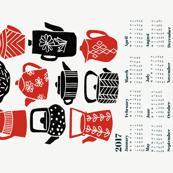 2017 Tea Calendar // tea towel calendar, kitchen calendar, spoonflower cut and sew calendar, tea towel, tea, linocut, kitchen