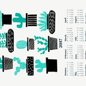 2017 cactus tea towel // tea towel calendar cactus houseplants potted plants tea towel cut and sew tea towel fabric