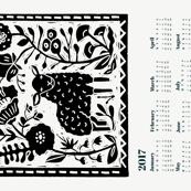 2017 sheep calendar // calendar cut and sew tea towel cut and sew linocut calendar sheep knitting cute animals