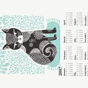 2017 cat linocut calendar // calendar cut and sew calendar linocut cat cat design andrea lauren fabric andrea lauren tea towel