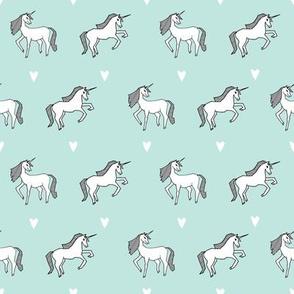 unicorn // mint unicorns girls cute design for little girls unicorn fabric unicorn design unicorns fabric