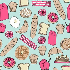 bakery // brunch food breakfast baguette food pastry pastries donuts breakfast food hand-drawn print by andrea lauren