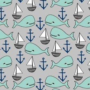 nautical whales //navy blue grey and mint white whales sailboats anchors anchor nursery baby cute whale sailboat design