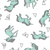 unicorns // unicorn girls mint multi directional unicorn fabric