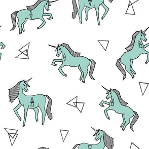 unicorns // unicorn girls mint unicorn fabric