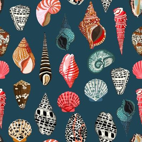 seashells // navy nautical beach summer seashell print seashell fabrics