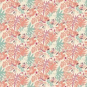 Tropical leaves in vintage pink colors