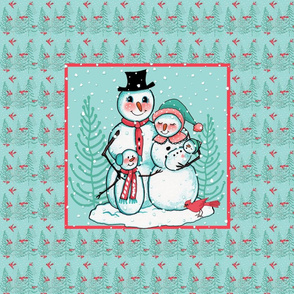 SNOWMAN_PILLOW_Panel Family Cardinal bird snow