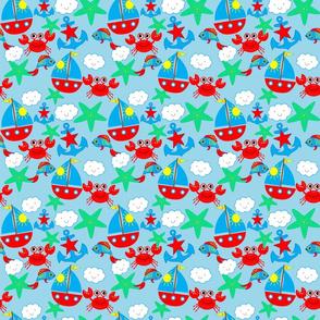TK-Sailboat Sea_Water Waves Starfish Crabs