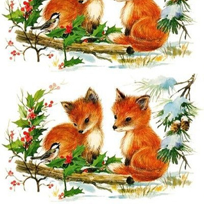 mistletoe Chickadee birds winter snow red foxes forests trees animals Conifer cone pine trees merry christmas vintage retro