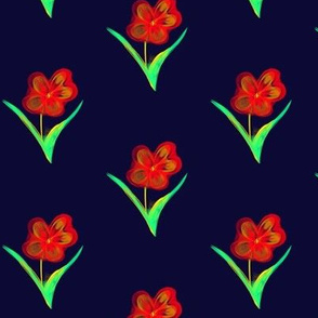 Fire-Bright Blooms on Night Sky Blue