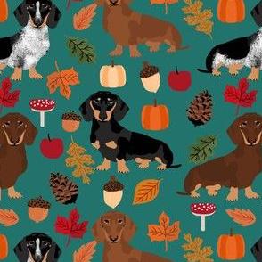 dachshund dog autumn pumpkin leaves fall autumn seasonal doxie dachshund fabric