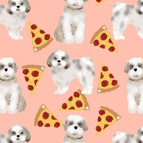 shih tzu pizza peach food dog breed fabrics dog breed design shih tzu fabric