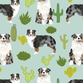 australian shepherds mint cactus cacti fabric cute dog fabrics australian shepherds dog fabric