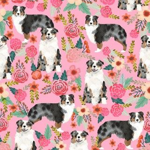 australian shepherds dog breed fabric pink florals flowers cute dog fabrics sweet dog