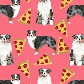 australian shepherd fabric coral pink pizza fabric cute aussie dog pizza fabric blue merle aussie fabric