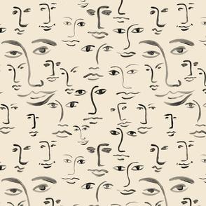 mono faces : ink/cream