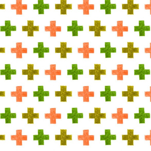 crayon crosses (green-salmon)
