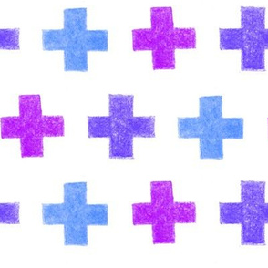 crayon crosses (blue-purple)