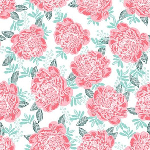 peonies peony painted florals flowers cute pink girls flowers baby nursery peony fabric for baby