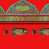 arabic cups with fish on red
