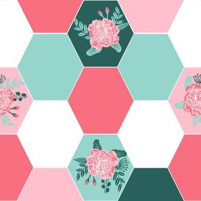 hexagon quilt, cheater quilt, hexies, hexie, quilt, hexie quilt fabric, florals quilt, girls flowers, nursery quilt