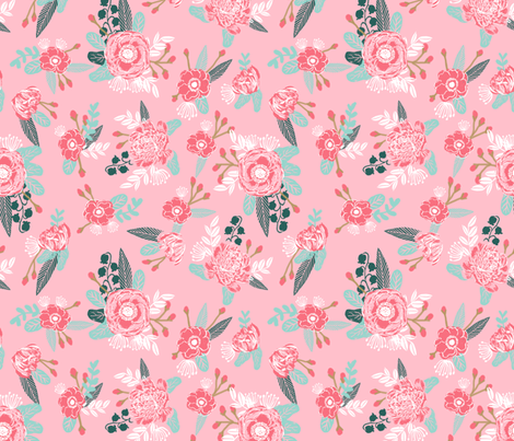 Pink flowers florals baby nursery baby cute pink floral for Pink nursery fabric