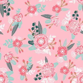 pink flowers, florals, baby nursery baby cute pink floral fabric,