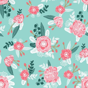 mint and pink floral fabric, girls fabric, sweet fabrics