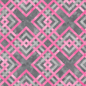 Cheater Quilt Carpenters Square Pattern Grey Pink