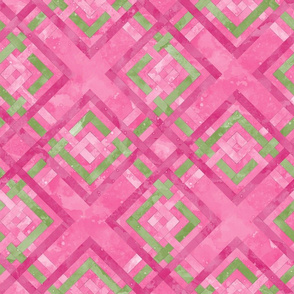 Cheater Quilt Carpenters Square Pattern Pink Green