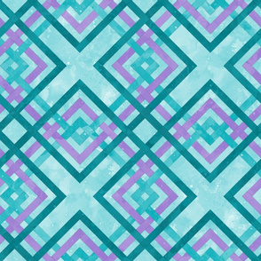 Cheater Quilt Carpenters Square Pattern Lilac Aqua