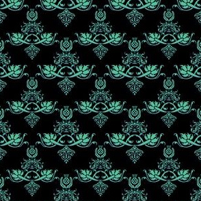 Blue Green Damask Style
