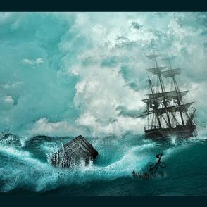 ship and waves panel - tea towel